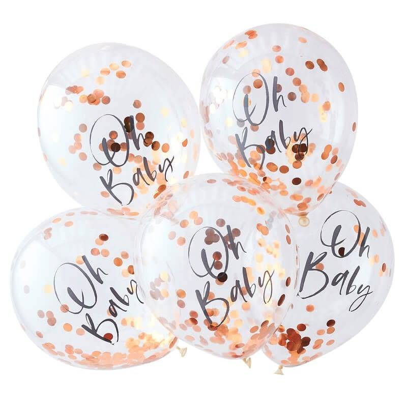 GINGERRAY Rose Gold Oh Baby Confetti Balloons- Twinkle Twinkle