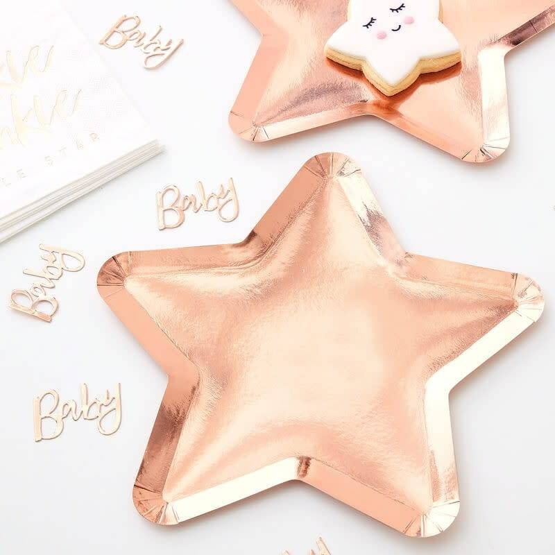 GINGERRAY Rose Gold Star Shaped Paper Plates- Twinkle Twinkle