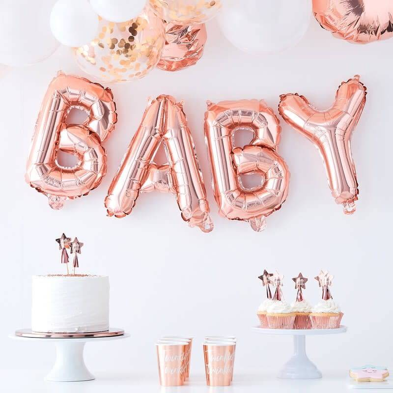 GINGERRAY Rose Gold Baby Balloon Bunting- Twinkle Twinkle