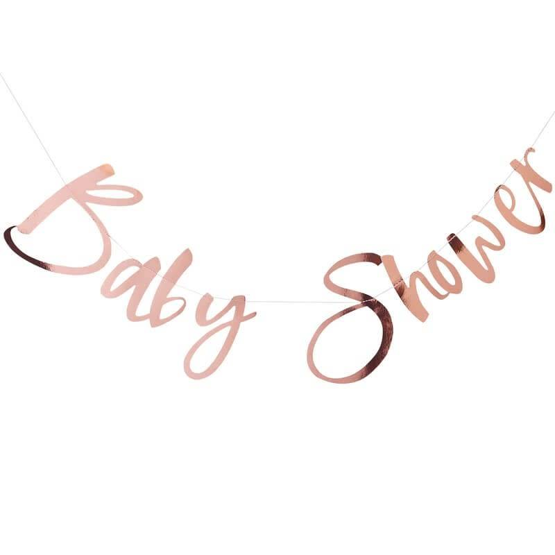 GINGERRAY Rose Gold Baby Shower Bunting- Twinkle Twinkle
