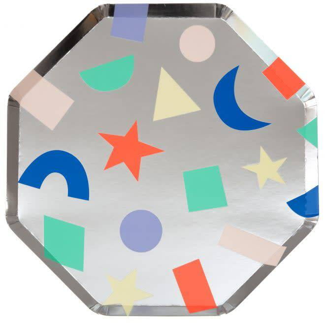 MERIMERI Silver geometric plates L