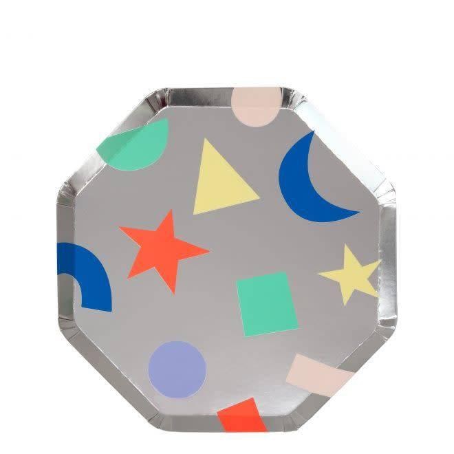 MERIMERI Silver geometric plates S