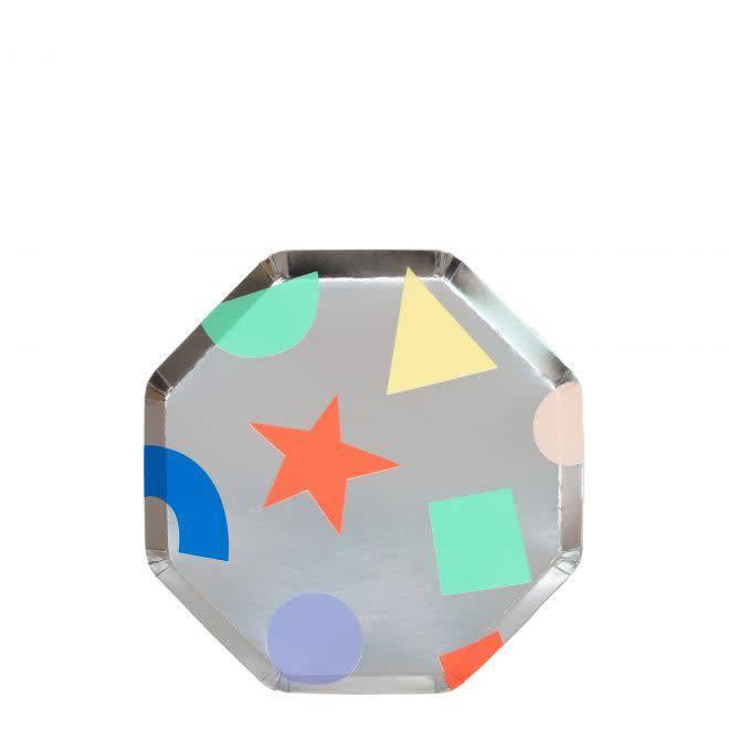 MERIMERI Silver geometric plates XS