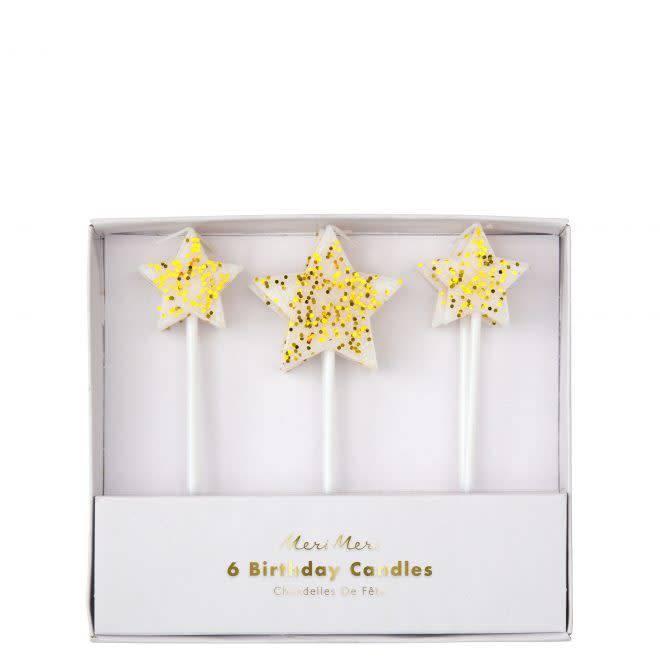 MERIMERI Gold glitter star candles