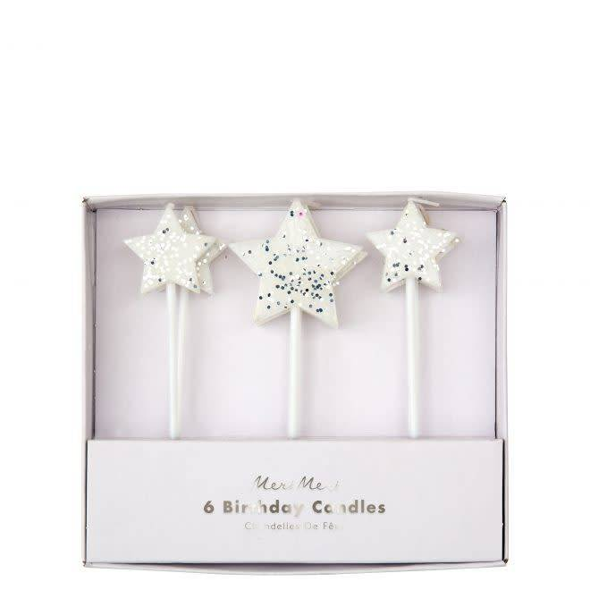 MERIMERI Silver glitter star candles