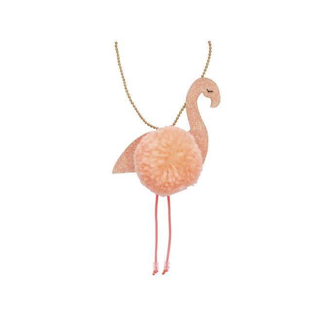 MERIMERI Flamingo pompom necklace