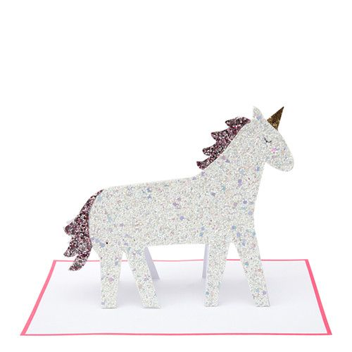 MERIMERI Unicorn glitter stand-up card
