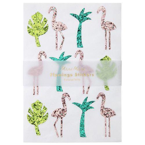 MERIMERI Flamingo glitter stickers