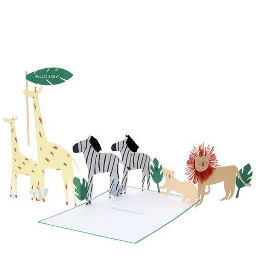 MERIMERI Safari baby concertina card