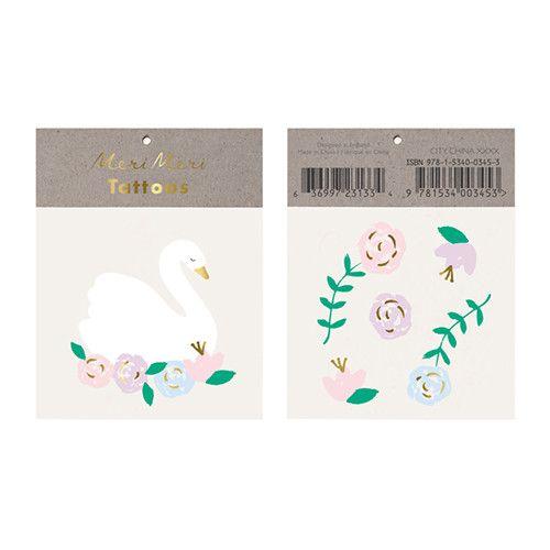 MERIMERI Floral swan tattoos
