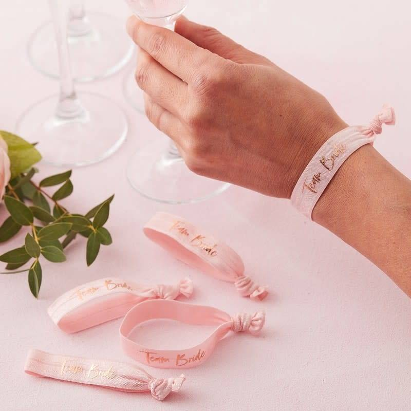 GINGERRAY Pink Team Bride Wrist Bands - Floral Hen Party