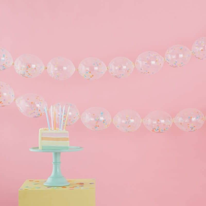GINGERRAY Confetti Link Balloon Garland Decoration - Pastel Party