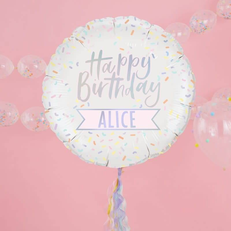 GINGERRAY Personalised Iridesent Happy Birthday Foil Balloon Pastel Party