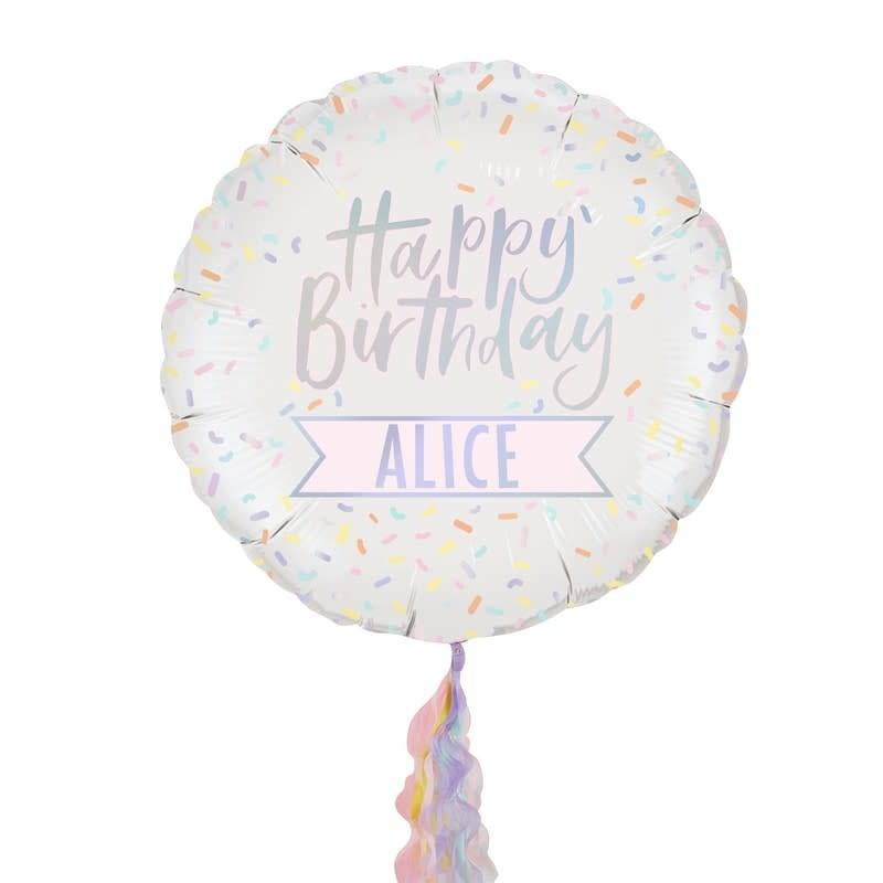 GINGERRAY Personalised Iridesent Happy Birthday Foil Balloon- Pastel Party