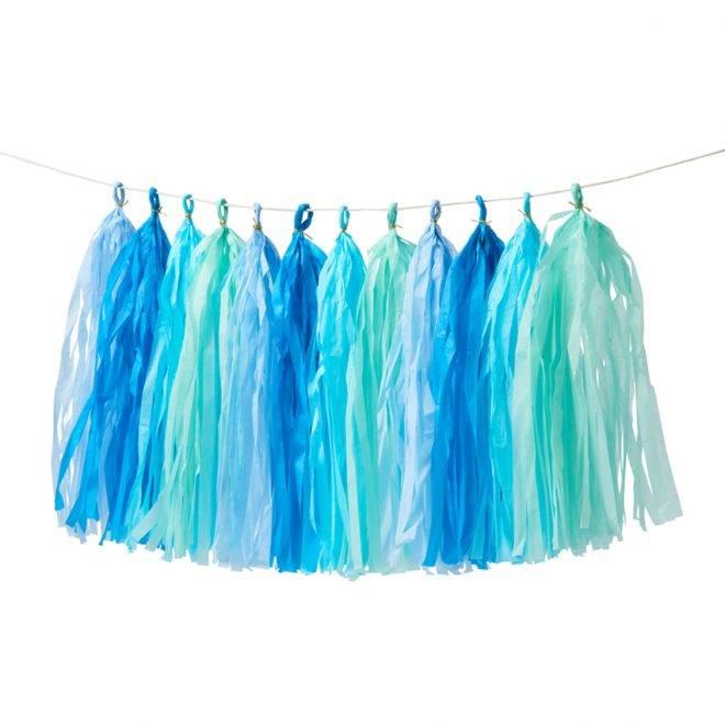 MERIMERI Blue tassel garland