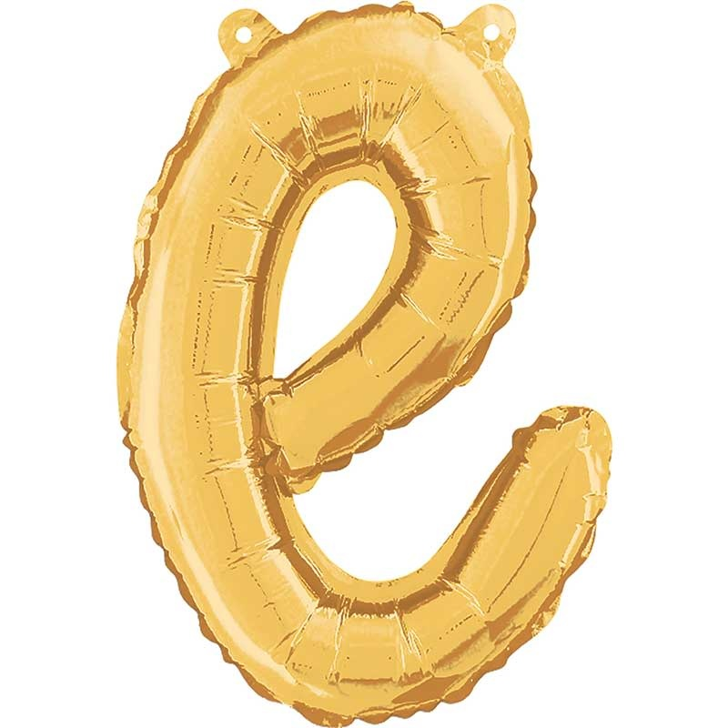ABC script alphabet foil balloon gold e