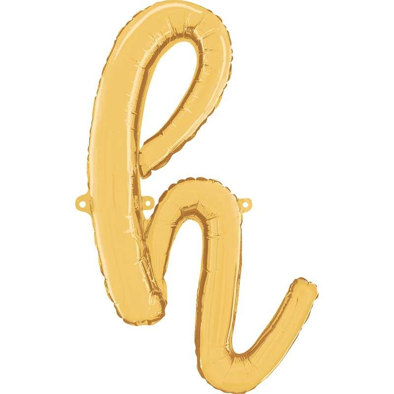 ABC script alphabet foil balloon gold h