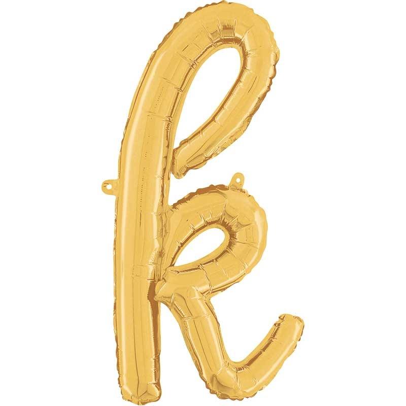 ABC script alphabet foil balloon gold k