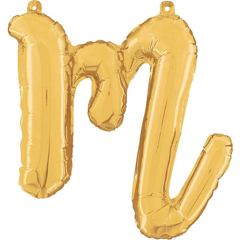 ABC script alphabet foil balloon gold m