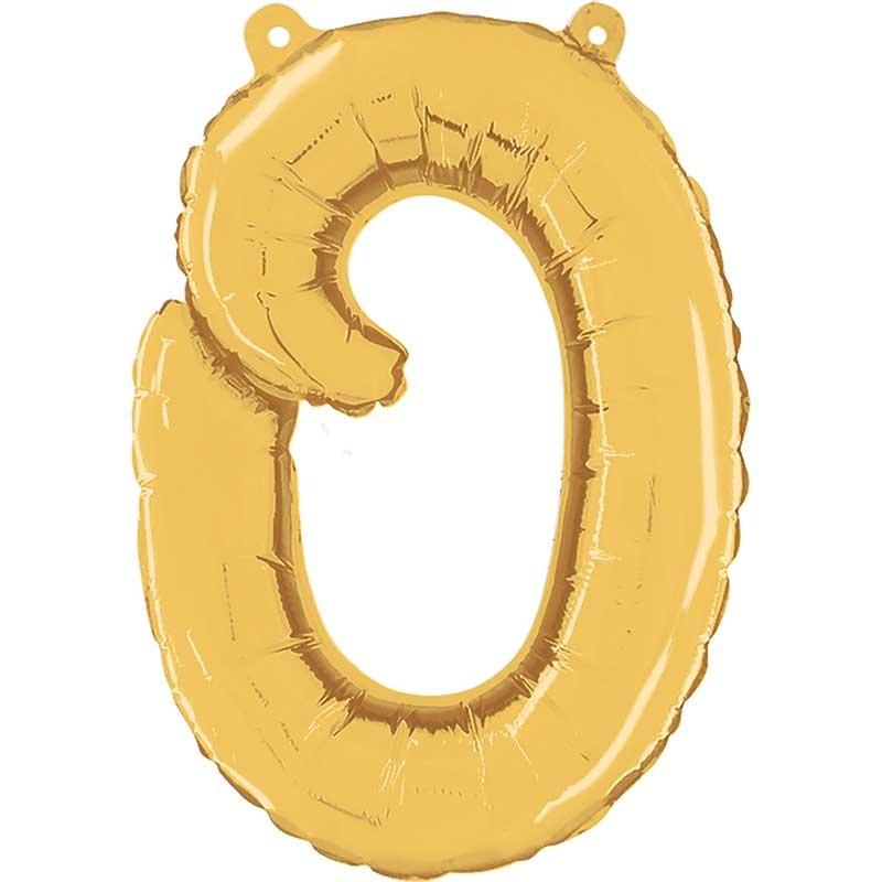 ABC script alphabet foil balloon gold o