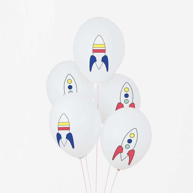 MY LITTLE DAY rocket print balloons 5 x