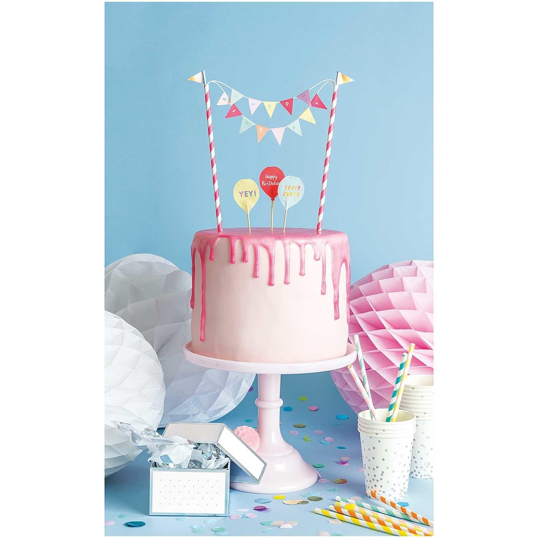 RICO CAKE DECORATION, HAPPY BIRTHDAY, PASTEL