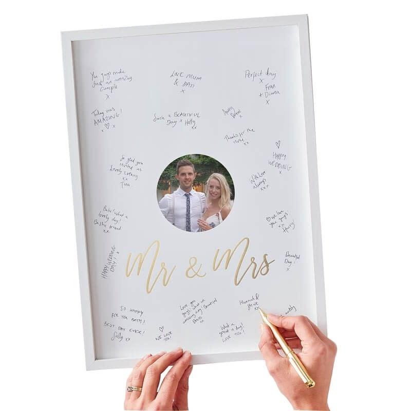 GINGERRAY MR & MRS ALTERNATIVE GUEST BOOK FRAME - GOLD WEDDING