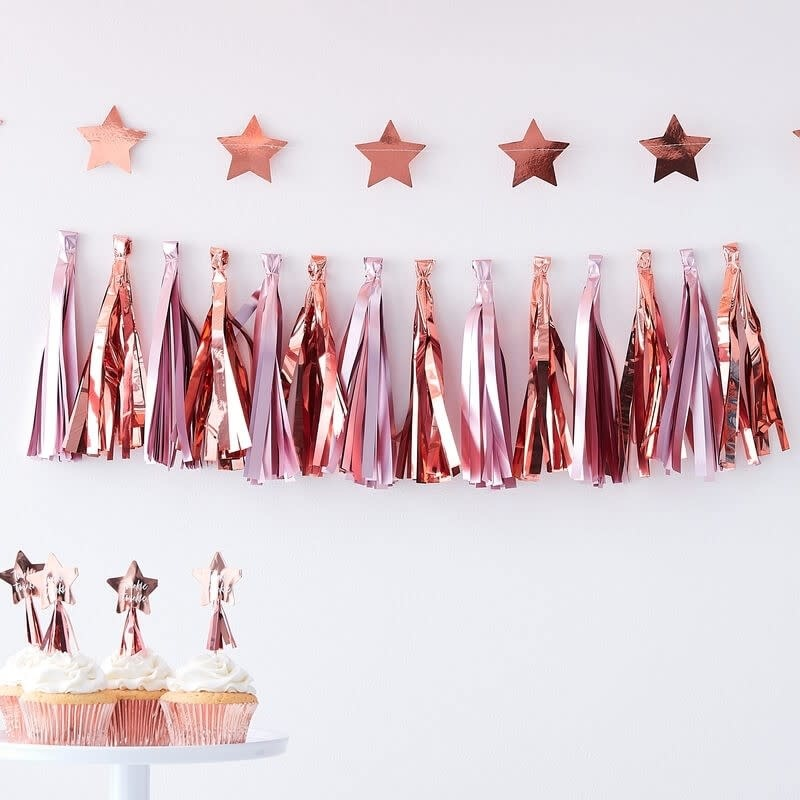 GINGERRAY MATTE PINK & ROSE GOLD TASSEL GARLAND - TWINKLE TWINKLE