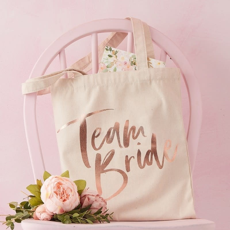 GINGERRAY TEAM BRIDE PRINTED TOTE BAG - FLORAL HEN PARTY