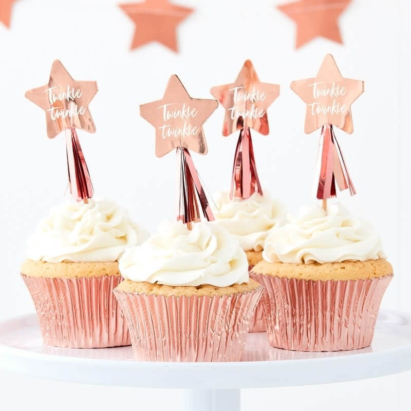 GINGERRAY ROSE GOLD STAR CUPCAKE TOPPERS WITH TASSELS - TWINKLE TWINKLE