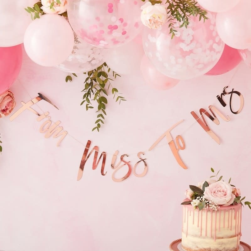 GINGERRAY MISS TO MRS ROSE GOLD BUNTING - FLORAL HEN PARTY