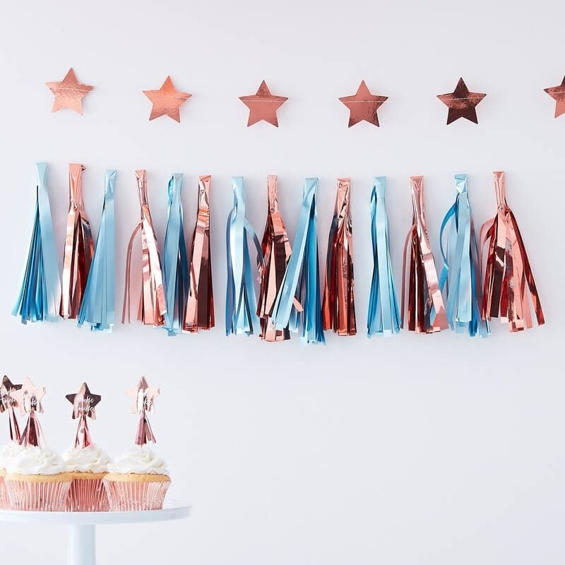 GINGERRAY MATTE BLUE AND ROSE GOLD TASSEL GARLAND - TWINKLE TWINKLE