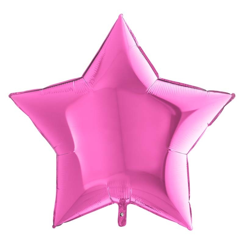 SMP star foil balloon fuchsia 55 cm
