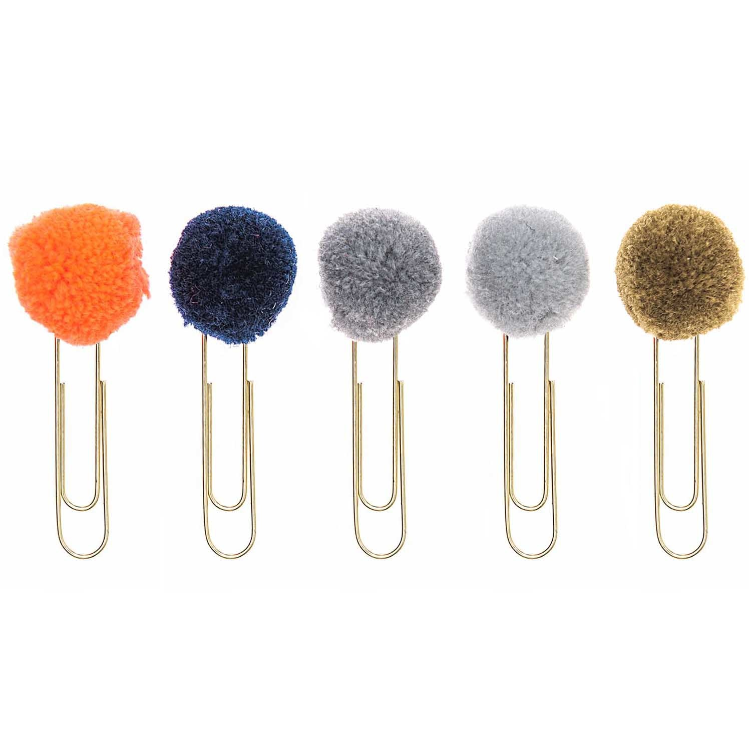 RICO PAPER CLIPS WITH POMPOMS, BLUE