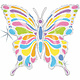 SMP pastel butterfly holographic foil balloon 84 cm