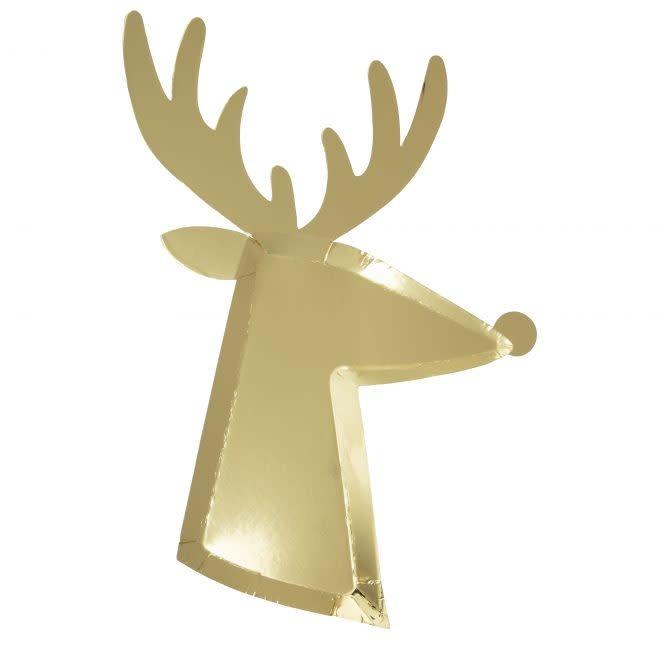 MERIMERI Gold reindeer plates