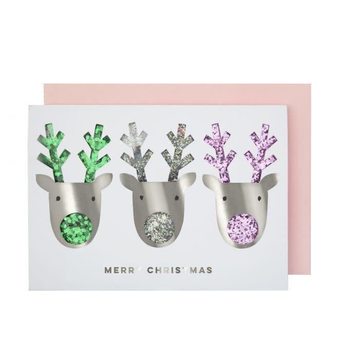MERIMERI Silver reindeer shaker card