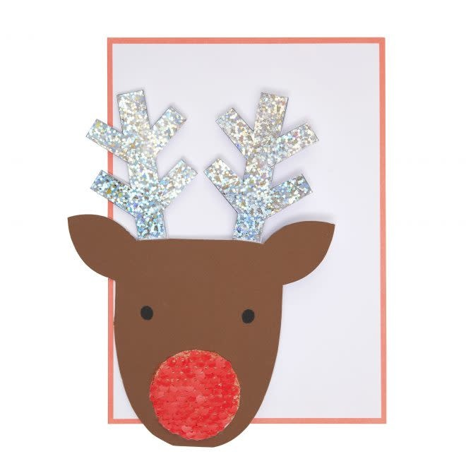 MERIMERI Sequin nose reindeer card