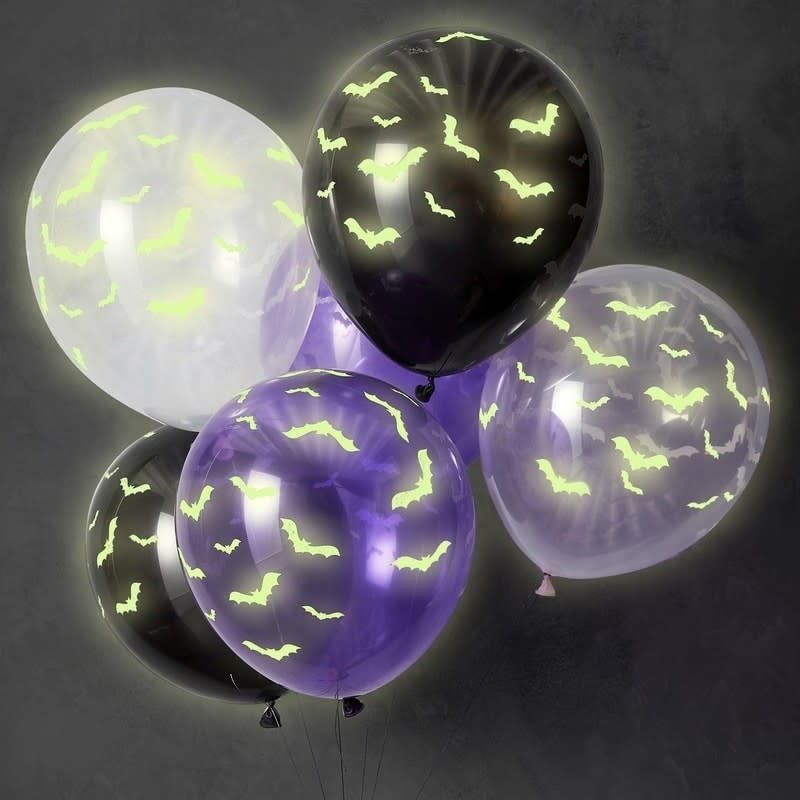 GINGERRAY GLOW IN THE DARK HALLOWEEN PARTY BALLOONS - LET'S GET BATTY