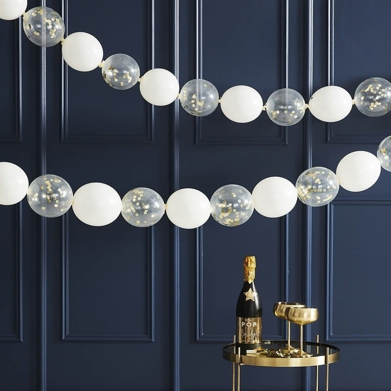 GINGERRAY GOLD CONFETTI LINK BALLOON GARLAND HANGING DECORATION - POP THE BUBBLY
