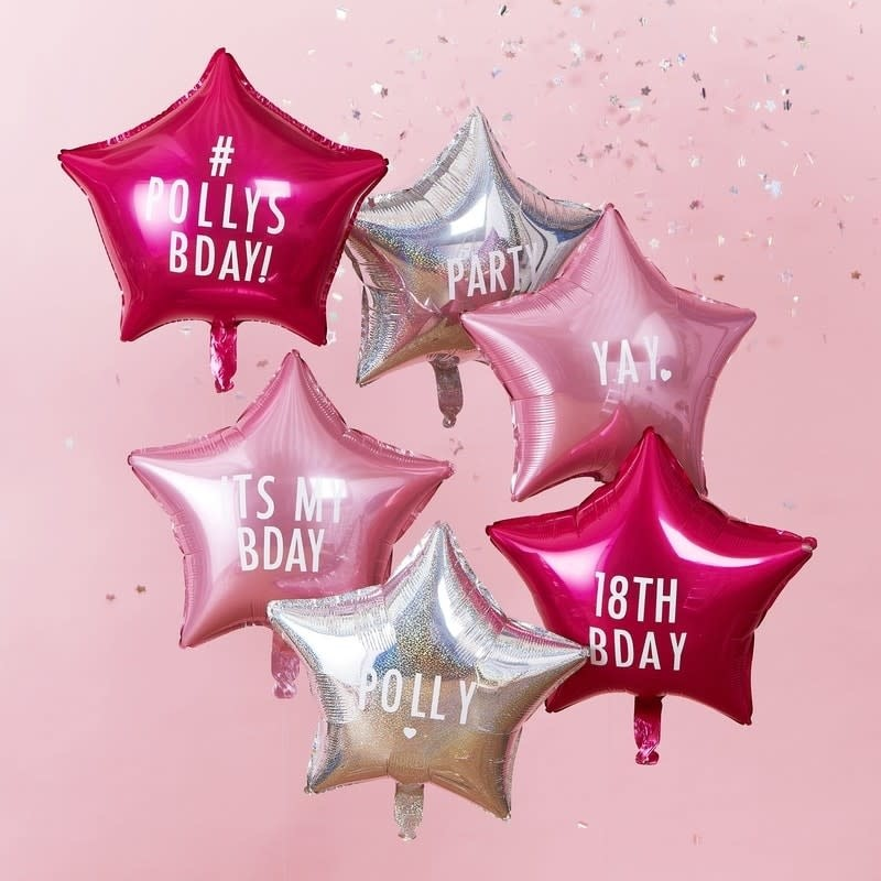 GINGERRAY PERSONALISABLE STAR PARTY BALLOONS WITH STICKERS - STARGAZER