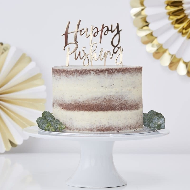 GINGERRAY GOLD FOILED HAPPY PUSHING CAKE TOPPER - OH BABY!
