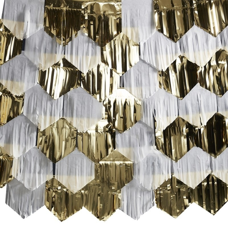 GINGERRAY GOLD AND WHITE TASSEL BACKDROP DECORATION - POP THE BUBBLY
