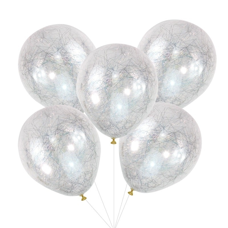 GINGERRAY SILVER ANGEL HAIR CONFETTI BALLOONS - POP THE BUBBLY