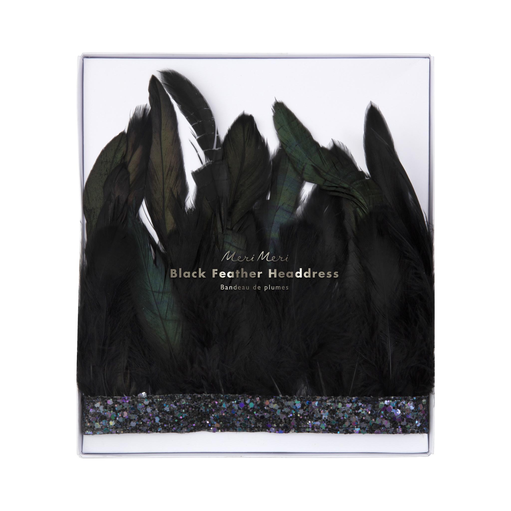 MERIMERI Black feather crown