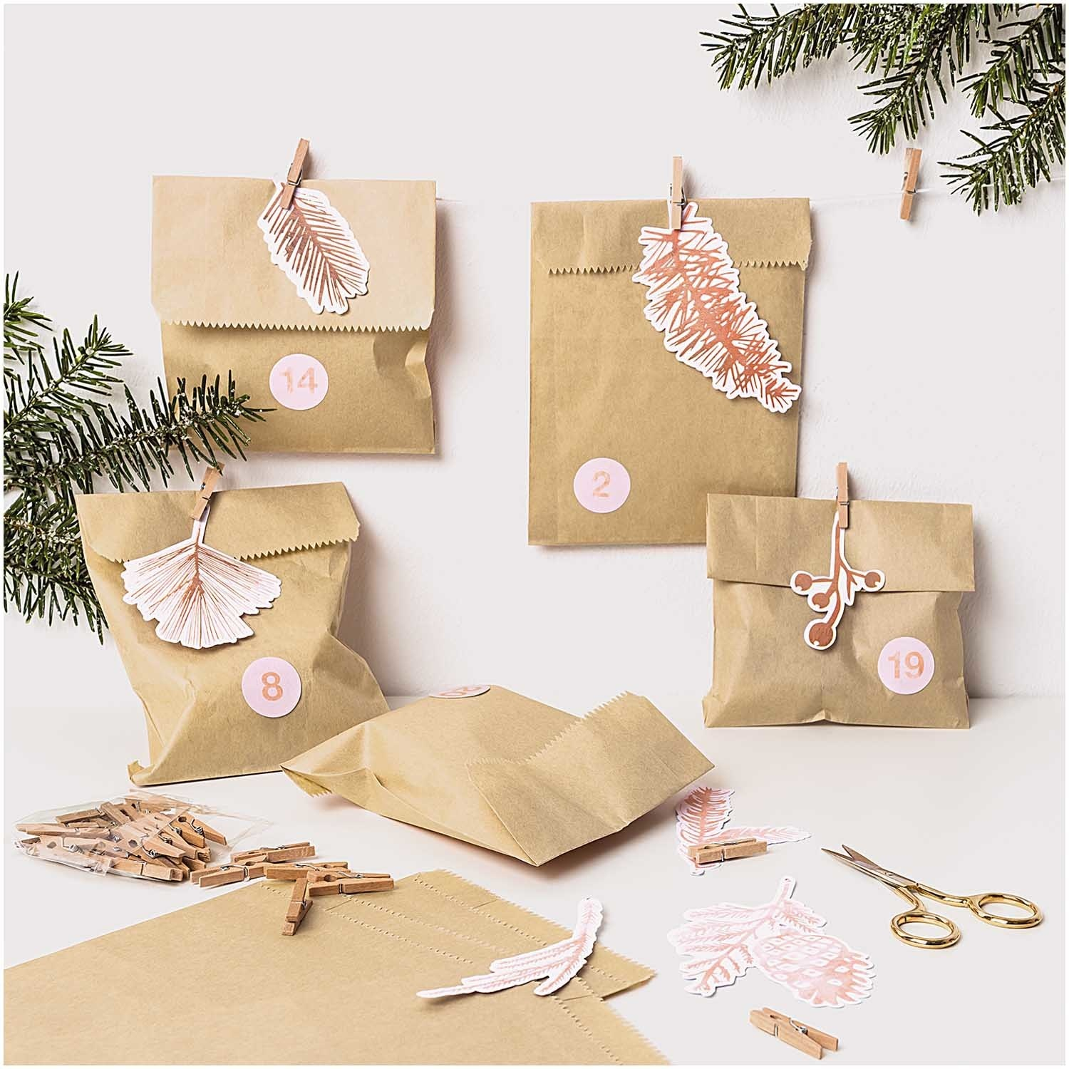 RICO paper garland, branches, rose gold