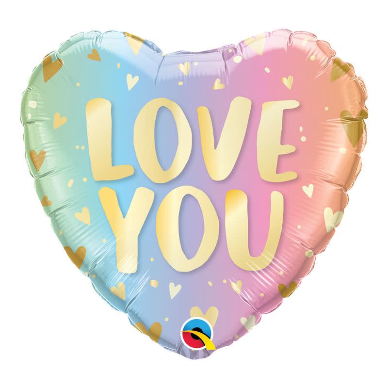 SMP love you pastel heart foil balloon 45 cm