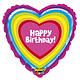 SMP Birthday rainbow heart foil balloon 53 cm