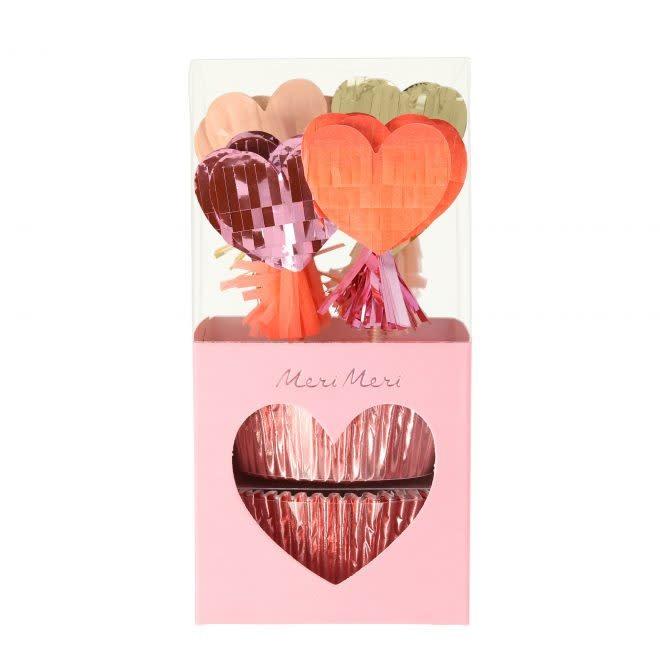 MERIMERI Piñata hearts cupcake kit