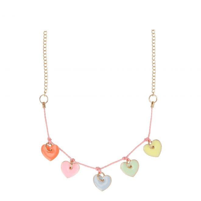 MERIMERI Enamel hearts necklace